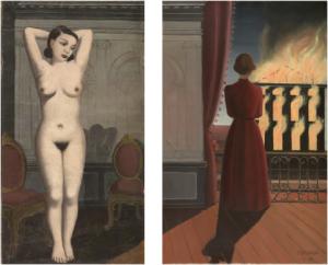 Paul Delvaux, Sans titre (L'Incendie), huile sur toile, 1935