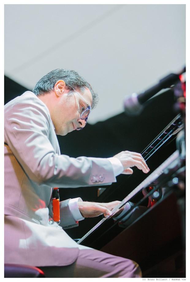Michel Bisceglia Trio, Gent Jazz Festival, Gent, BE, 12.07.2015 // Michel Bisceglia (piano), Werner Lauscher (bas), Marc Léhan (drums) // (c) Bruno Bollaert - Wahwah vzw