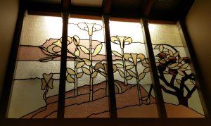 Motif Art nouveau sur un vitrail de la Maison autrique à Bruxelles