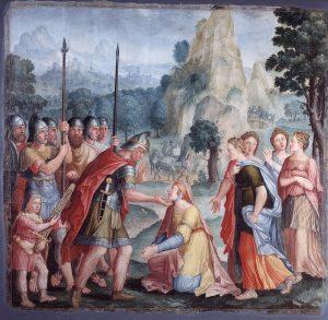 Lambert Lombard, David et Abigaïl, série des « Femmes vertueuses », vers 1548, Liège, Musée de l'art wallon. © KIK-IRPA, Bruxelles