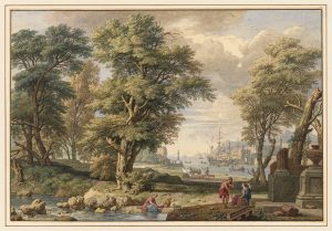 Isaac De Moucheron, Paysage italien avec arbres et un port, 1738. © MRBAB / photo : J. Geleyns - Art Photography.