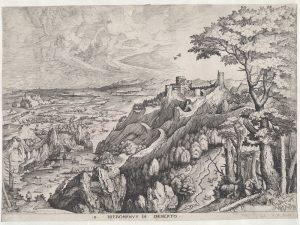 Joannes et Lucas van Doetecum d'après Pieter I Bruegel, Saint Jérôme dans le désert, eau-forte avec gravure au burin, Hieronymus Cock, Anvers, vers 1555. KBR – Cabinet des estampes, S.I 5910