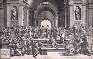 Giorgio Ghisi d'après Raphaël, L'École d'Athènes (d'après la fresque au Vatican), gravure au burin sur deux plaques, Hieronymus Cock, Anvers, 1550. KBR – Cabinet des estampes, S.I 28081
