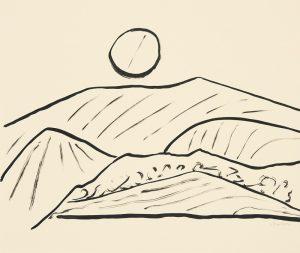 Etel Adnan, Montagnes 1, 2015. Encre de Chine sur papier, 38 x 45 cm.
