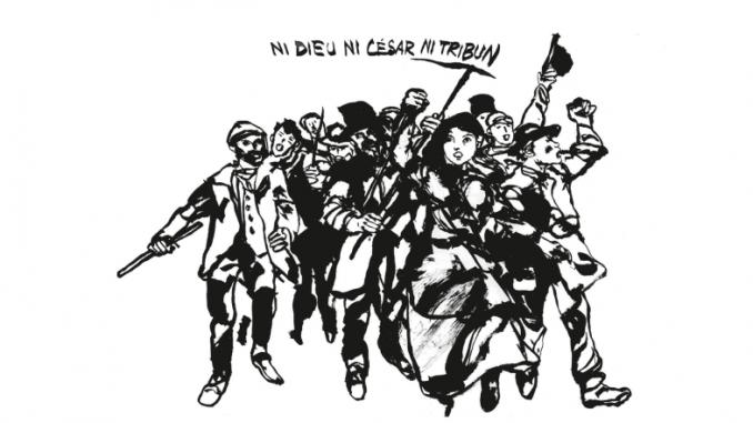 Illustration de quatrième de couverture de l'ouvrage « Les fantômes de l'Internationale » d'Élise Thiébaut et Baudoin (La ville brûle, 2019)