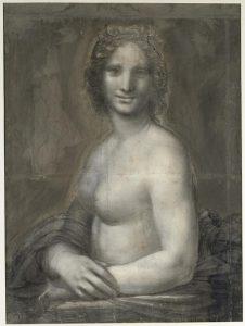 """Photographie du tableau """"La Joconde nue"""" © RMN-Grand Palais Domaine de Chantilly/AFP / Michel Urtado"""