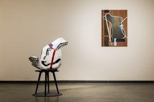 Sculpture: Anton, 2019 Collage: Performance Hall I, 2019 © Laurent de Broca