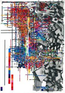 FTSN, Glitch01, crayon de couleur sur papier, 80x54 cm, 2019