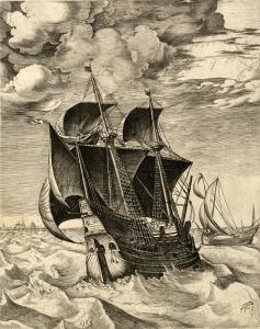 """Frans Huys d'après Pieter Bruegel l'Ancien, Une hourque hollandaise et un boyer (extrait de """"Les vaisseaux de mer""""), ca. 1561-1565 © KBR"""