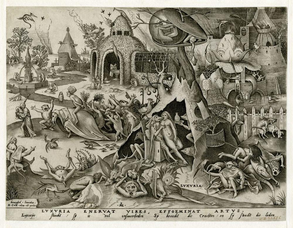 """Pieter van der Heyden d'après Pieter Bruegel l'Ancien, Luxuria (La luxure, extrait de """"Les sept péchés capitaux""""), 1558 © KBR"""