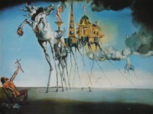 Salvador Dalí, La tentation de Saint-Antoine, 1946, huile sur toile, MRBAB, Bruxelles.