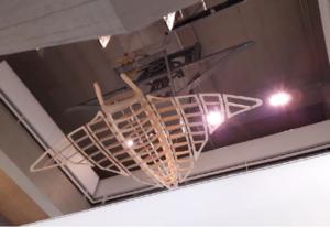 Luc Schuiten, Raie manta, [s.d], 425 x 60 x 450 cm, prototype en bois, Musée Royal de Mariemont. Cliché L. Segard, 2020.
