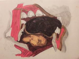 Kiki Smith, Teeth Drawing, 1983.57 x 76.5 cm, dessin à l'encre graphite et acrylique sur papier, Centre de la gravure et de l'image imprimée, La Louvière. Cliché L. Segard, 2019.