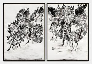 Abdelkader Benchamma, Trees of Miracle - Souffle, 2020, encre sur papier, 190 X 152 CM (sans cadre) / 197,5 X 160 CM (avec cadre).