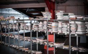 Bibliothèque en collaboration avec le centre d'architecture CIVA. Photo : Veerle Vercauteren.