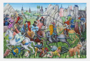 Tom Poelmans, A Dead Man's Dream, 2020, huile sur toile, 200x300 cm, 78 3/4 x 188 1/8 in.