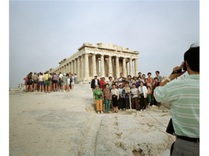 Martin Parr, The Acropolis, color couplet print, 121 x 148. 9 cm, © Martin Parr, Magnum Photo, Rocket Gallery.