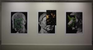 Nicolas Lamas, Posthuman portraits #1, #2, #3, 2021. 180 x 135 cm, impression pigmentaire d'archives su papier mat 170 gr. Centre de la Gravure et de l'Image Imprimée, La Louvière. © L. Segard.