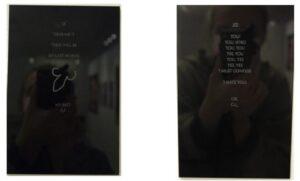 Hanne Lippard, Curses I-XIII, extrait, 2018. 17.7cm x 11. 6 cm, gravure au laser sur plexiglass (13). Centre de la Gravure et de l'Image Imprimée, La Louvière. © L. Segard.