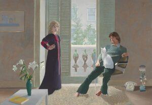 David Hockney. Mr. and Mrs. Clark and Percy, 1970-1971. Acrylique sur toile, 213,4 x 304,8 cm. Tate : Don des Amis de la Tate Gallery 1971 © David Hockney.